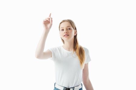 teenage girl with raised hand isolated on white Stock fotó