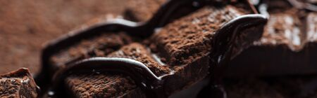 Panoramic shot of pieces of dark chocolate bar with melted chocolate and cocoa powder