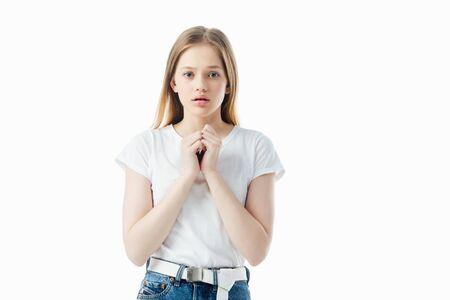 bang tienermeisje kijken camera geïsoleerd op wit Stockfoto