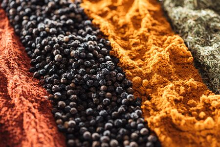 close up view of various traditional indian spices 写真素材