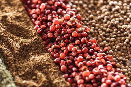 close up view of traditional indian spices and dried berries Stok Fotoğraf