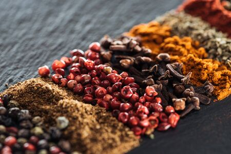 close up view of traditional aromatic indian spices