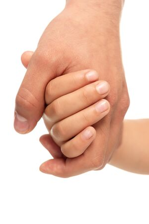 cropped view of father and daughter holding hands isolated on white Stock fotó