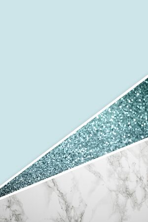Geometric background with blue glitter, marble and light blue color