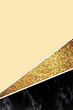 Geometric background with golden glitter, black marble and light yellow color Stock Photo