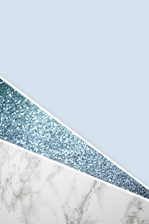 Geometric background with marble, glitter and light blue color