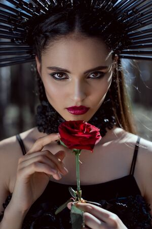 Portrait of beautiful woman in witch costume looking at camera, holding red rose in hands Stock Photo