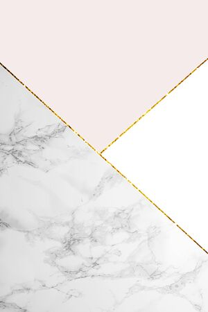 Geometric background with marble, white and light pink colors Stock Photo