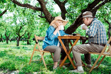 Senior woman and man sitting on chairs and drinking tea near trees