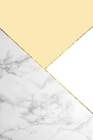 Geometric background with grey marble, white and light yellow colors
