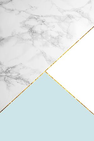 Geometric background with grey marble, white and light blue colors