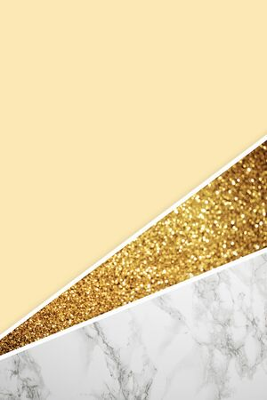 Geometric background with grey marble, golden glitter and light yellow color background