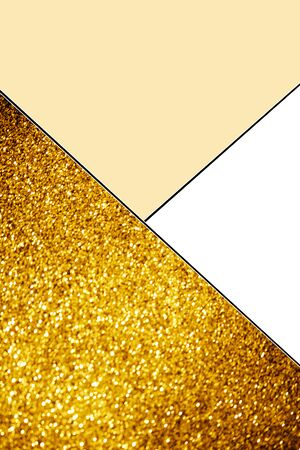 Geometric background with golden glitter, white and light yellow colors background