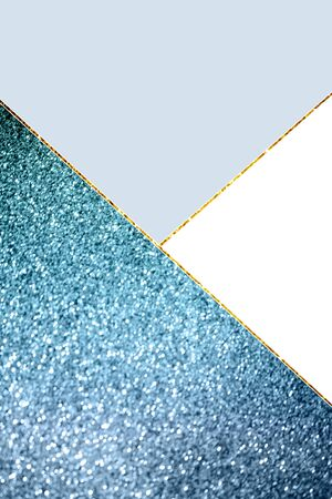 Geometric background with blue glitter, white and light blue colors