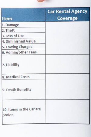 Blank car rental document with spreadsheet on white paper