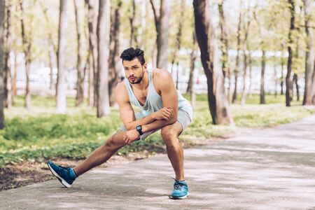 Handsome man in sportswear and sneakers working out in sunny park Banco de Imagens