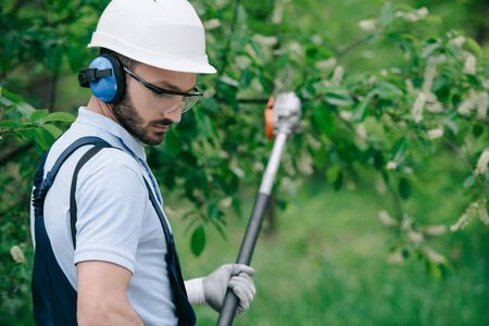 Selective focus of pensive gardener in helmet and hearing protectors trimming trees with telescopic pole saw in park
