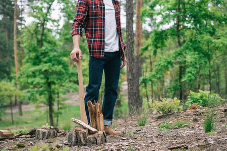 Partial view of lumberjack in plaid shirt and denim jeans standing with ax in forest