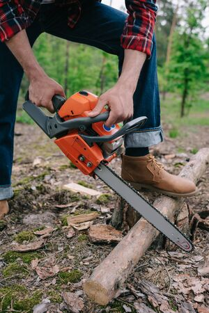 Cropped view of lumberjack cutting tree trunk with chainsaw in forest