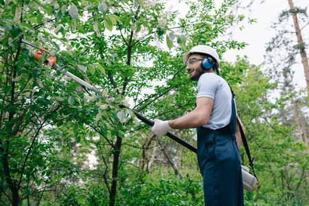 Smiling gardener in overalls and hearing protectors trimming trees with telescopic pole saw in park Stok Fotoğraf