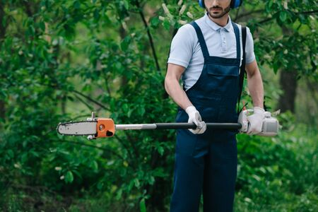 Cropped view of gardener in overalls holding telescopic pole saw in garden