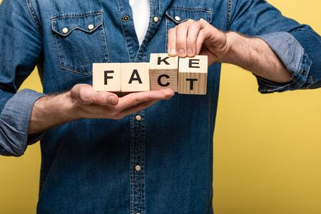 croped view of man holding wooden cubes with fake fact lettering isolated on yellow