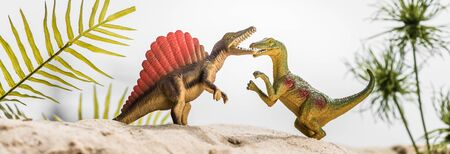 selective focus of toy dinosaurs roaring on sand dune with tropical leaves, panoramic shot Фото со стока