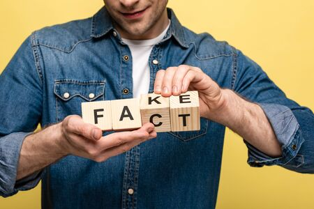 cropped view of smiling man holding wooden cubes with fake fact lettering isolated on yellow