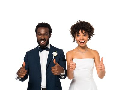 happy african american bridegroom and bride showing thumbs up isolated on white