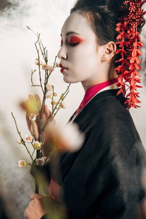 selective focus of beautiful geisha in black kimono with red flowers in hair and sakura branches in smoke 写真素材