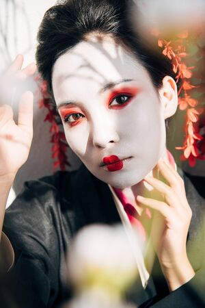 selective focus of tree branches and beautiful geisha with red and white makeup in sunlight 写真素材