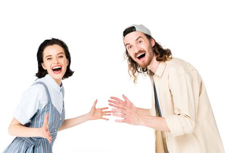young man and girl smiling at camera with joy isolated on white