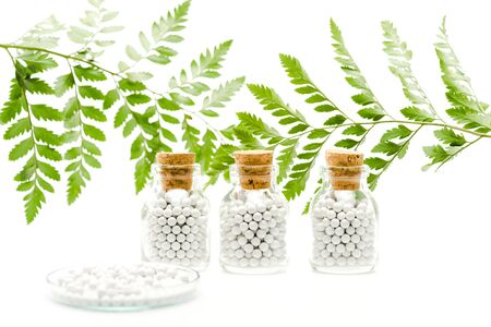 selective focus of round pills in glass bottles with wooden corks near green leaves on white