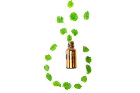 top view of bottle near green fresh leaves isolated on white Banco de Imagens