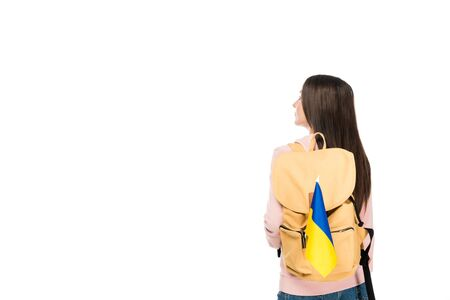 back view of student with backpack and flag of Ukraine isolated on white Фото со стока