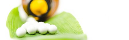 panoramic shot of small round pills on green leaf near bottle isolated on white Banque d'images