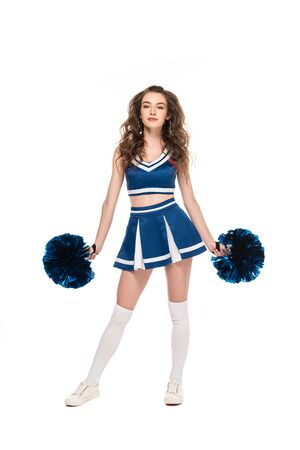 full length view of sexy cheerleader girl in blue uniform with pompoms isolated on white Stock Photo