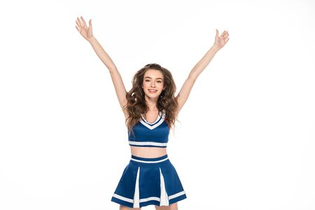 happy cheerleader girl in blue uniform dancing with hands in air isolated on white Banque d'images - 128187111