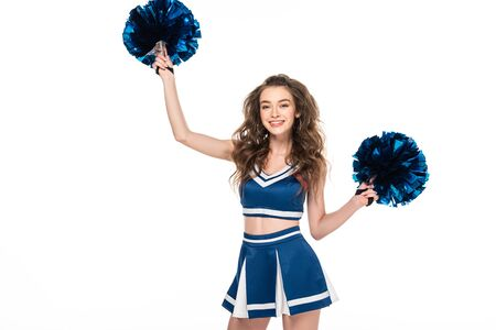 happy cheerleader girl in uniform dancing with blue pompoms isolated on white Stock Photo