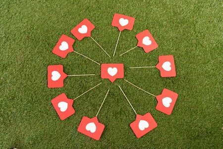 flat lay with social media hearts signs on green field