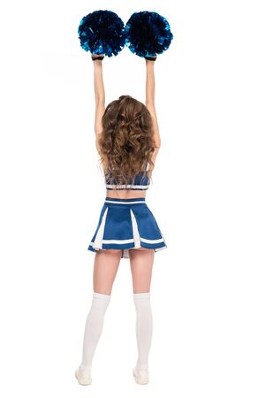 back view of sexy cheerleader girl in blue uniform dancing with pompoms isolated on white Banque d'images - 128193551