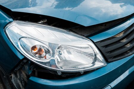 selective focus of headlight in damaged vehicle after car accident