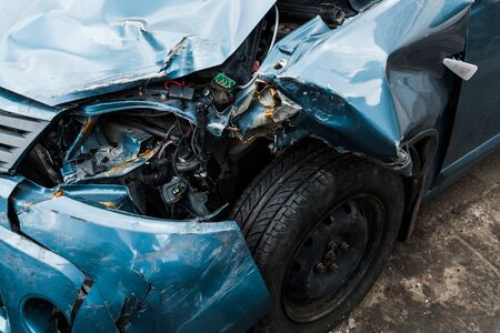 selective focus of crashed automobile after car accident