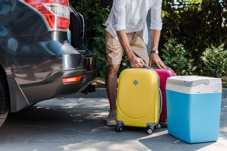 cropped view of man standing near luggage and car