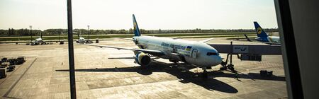 ROME, ITALY - JUNE 28, 2019: panoramic shot of airplanes at aerodrome in sunny day in rome, italy Editorial