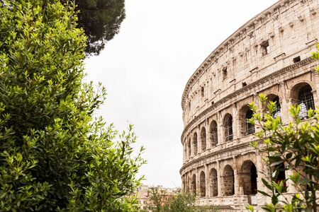 ROME, ITALY - JUNE 28, 2019: panoramic shot of old ruins of colosseum