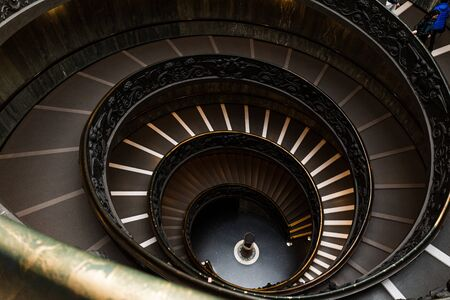 ROME, ITALY - JUNE 28, 2019: old spiraling Bramante Staircase in vatican museums Editorial