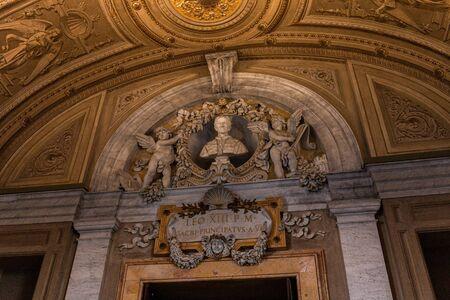 ROME, ITALY - JUNE 28, 2019: ancient interior of Galleria dei Candelabri in vatican museum