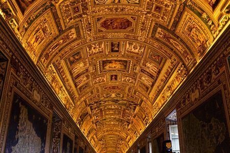 ROME, ITALY - JUNE 28, 2019: ceiling with ancient frescoes in vatican museums Reklamní fotografie - 130524750