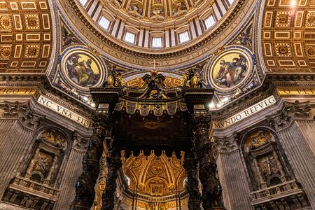 ROME, ITALY - JUNE 28, 2019: interior of vatican museums with ancient frescoes and sculptures Editorial
